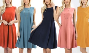 Style Clad Women's Cotton-Blend A-Line Swing Dress with Pockets