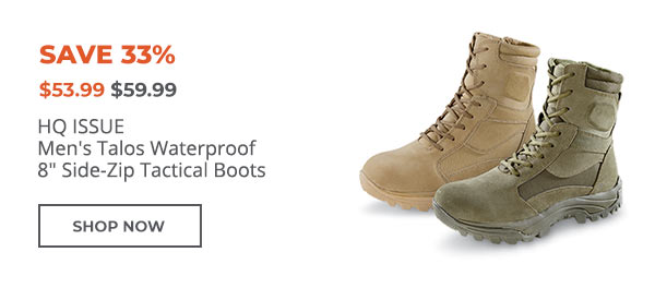 HQ ISSUE Mens Talos Waterproof 8 Side-Zip Tactical Boots