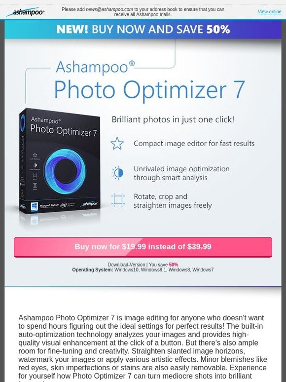Ashampoo: Introductory price -50%: Optimize photos with a single