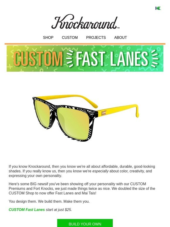 8af91ddfc1f0 Knockaround  💥Big News—Custom Fast Lanes   Mai Tais Now Available ...
