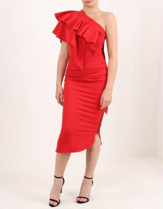 aa36bde677 KEVAN JON. Lotus Shoulder Frill Dress