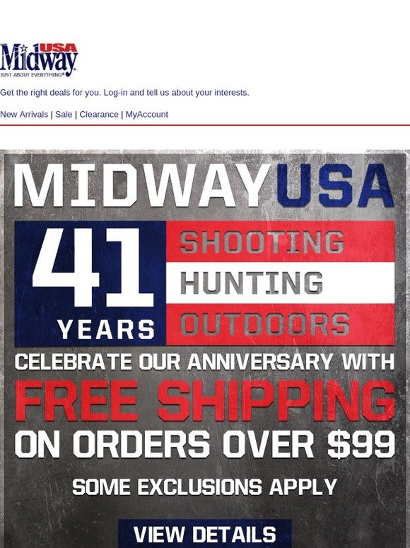 MidwayUSA: Last Chance for Free Shipping on Orders Over $99