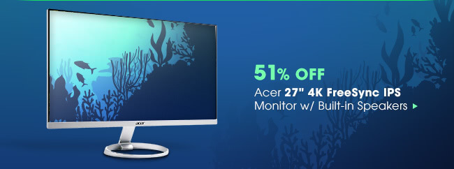 """51% OFF - Acer 27"""" 4K FreeSync IPS Monitor w/ Built-in Speakers"""