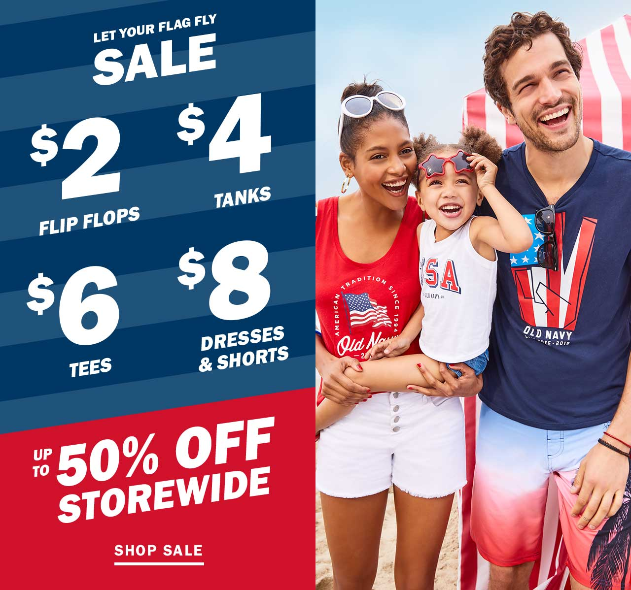 Old Navy: 🇺🇸 Let Your Flag Fly Sale 🇺🇸 Styles from $2, $4, $6 ...