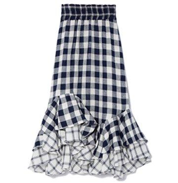 Lee Mathews Nellie Checked Linen Asymmetric Skirt $435