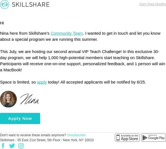 Skillshare: You're Invited to Our Exclusive Program for New