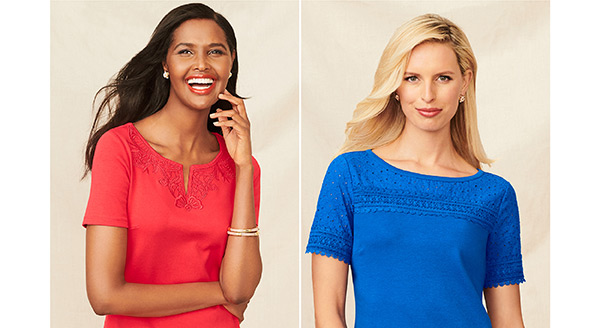 Classic knit shifts with feminine neck details in sizzling or calming colors. The only thing nicer than the pricing is that feeling you get every time you wear them.