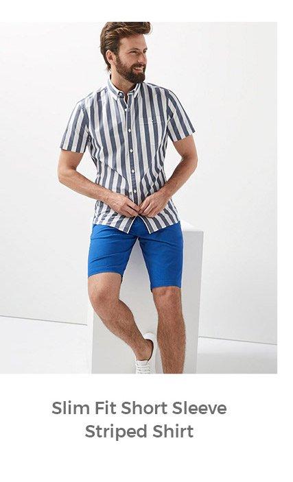 slim fit short sleeve striped shirt