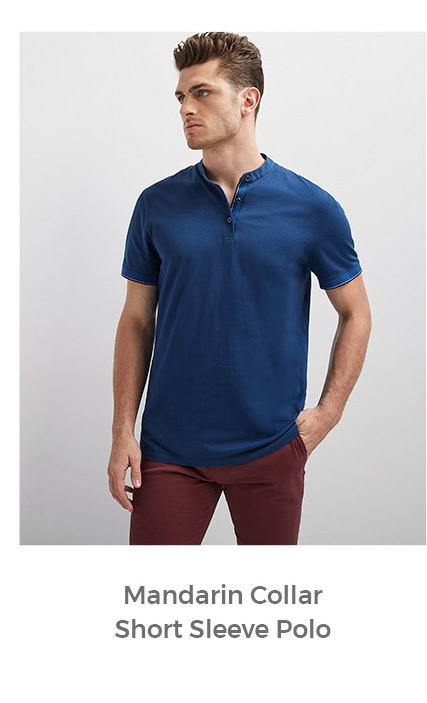 mandarin collar short sleeve polo
