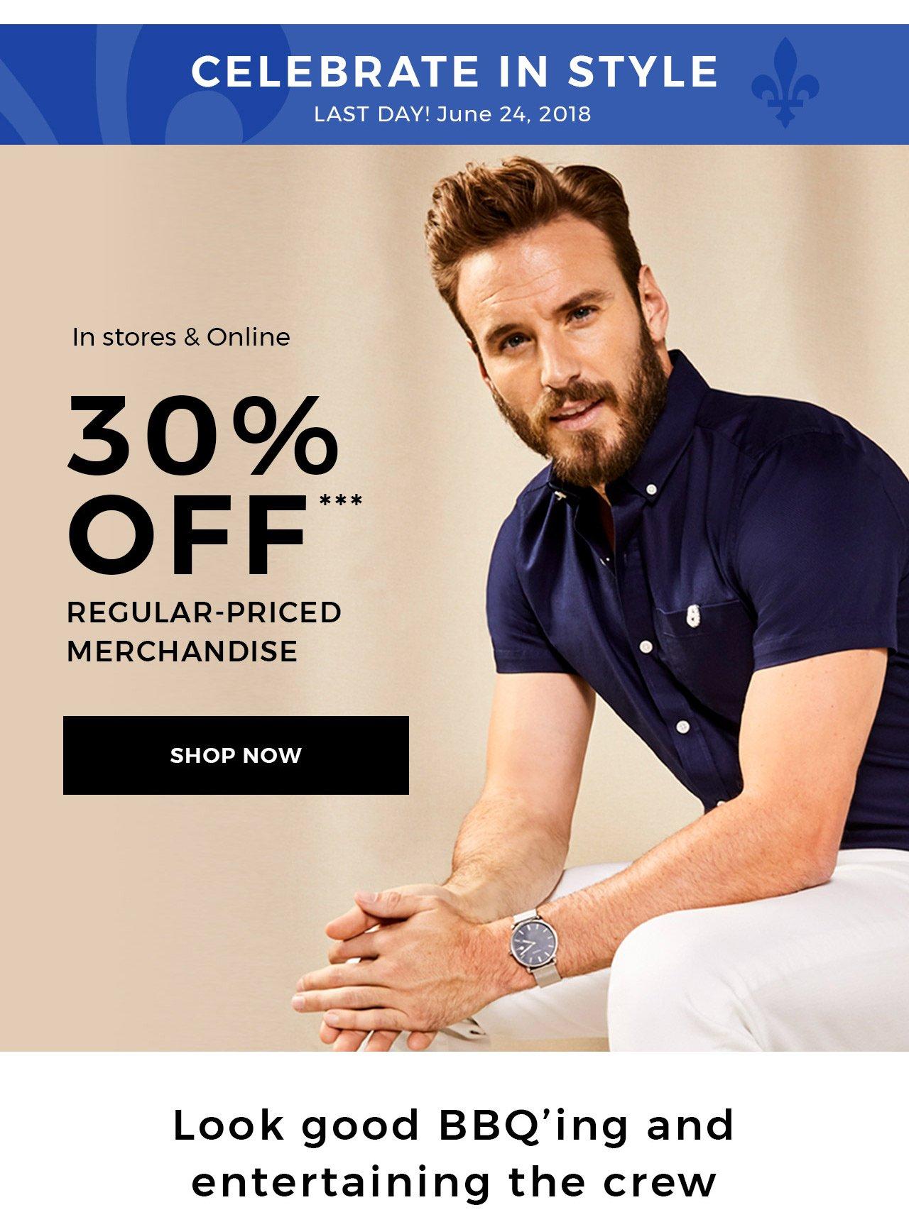 30% off regular-priced merchandise