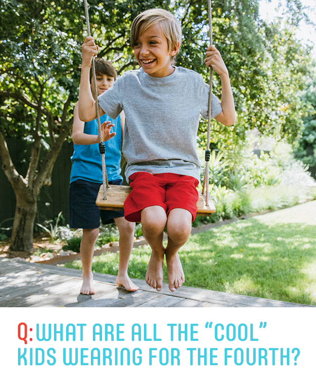 "q: what are all the ""cool"" kids wearing for the fourth?"