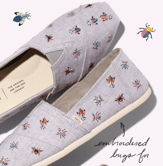 ba2715ffcd7 TOMS Surprise Sale  Embroidered Bug Classics 🐛🐞