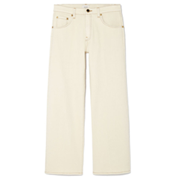 Khaite Wendall Cropped Wide-Leg Jeans $340
