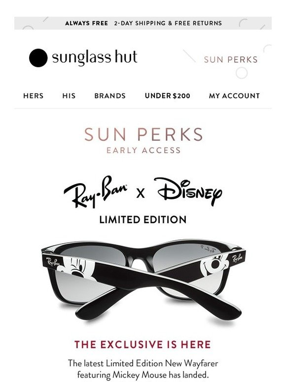e937a5c66fe Sunglass Hut  Ray-Ban x Disney is Back! Early Access Starts Now