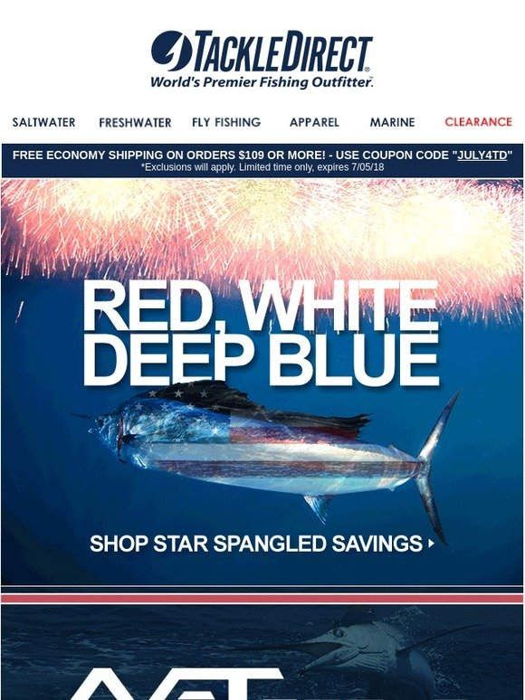 e06e83bd179 Tackle Direct: ☆ 4th of july savings - shop red, white, and blue ...