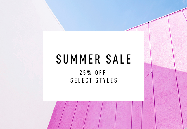 Summer Sale, 25% off Select Styles, blue and pink geometric design.