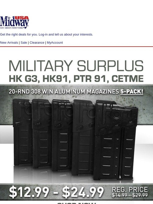 MidwayUSA: 10%-15% Off Surplus G3 20-Rnd 308 Win Magazines