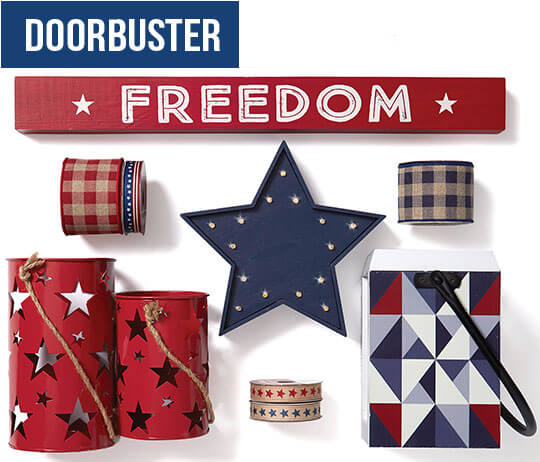 DOORBUSTER! Americana Decor and Land of the Free Decor, Entertaining, Textiles and Candles.