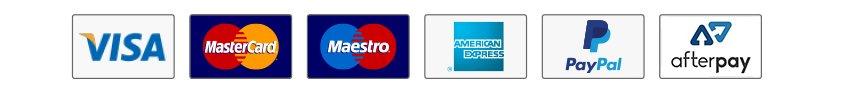 Visa, Mastercard, Maestro, American Express, PayPal, MasterPass and Afterpay.