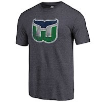 Hartford Whalers Navy Distressed Throwback Primary Logo Tri-Blend T-Shirt