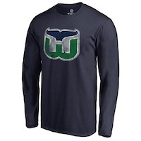 Hartford Whalers Navy Throwback Primary Logo Long Sleeve T-Shirt