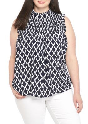 Plus Size High Neck Smock Dot Print Tank