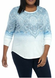 Plus Size Long Sleeve Ombre Sweatshirt