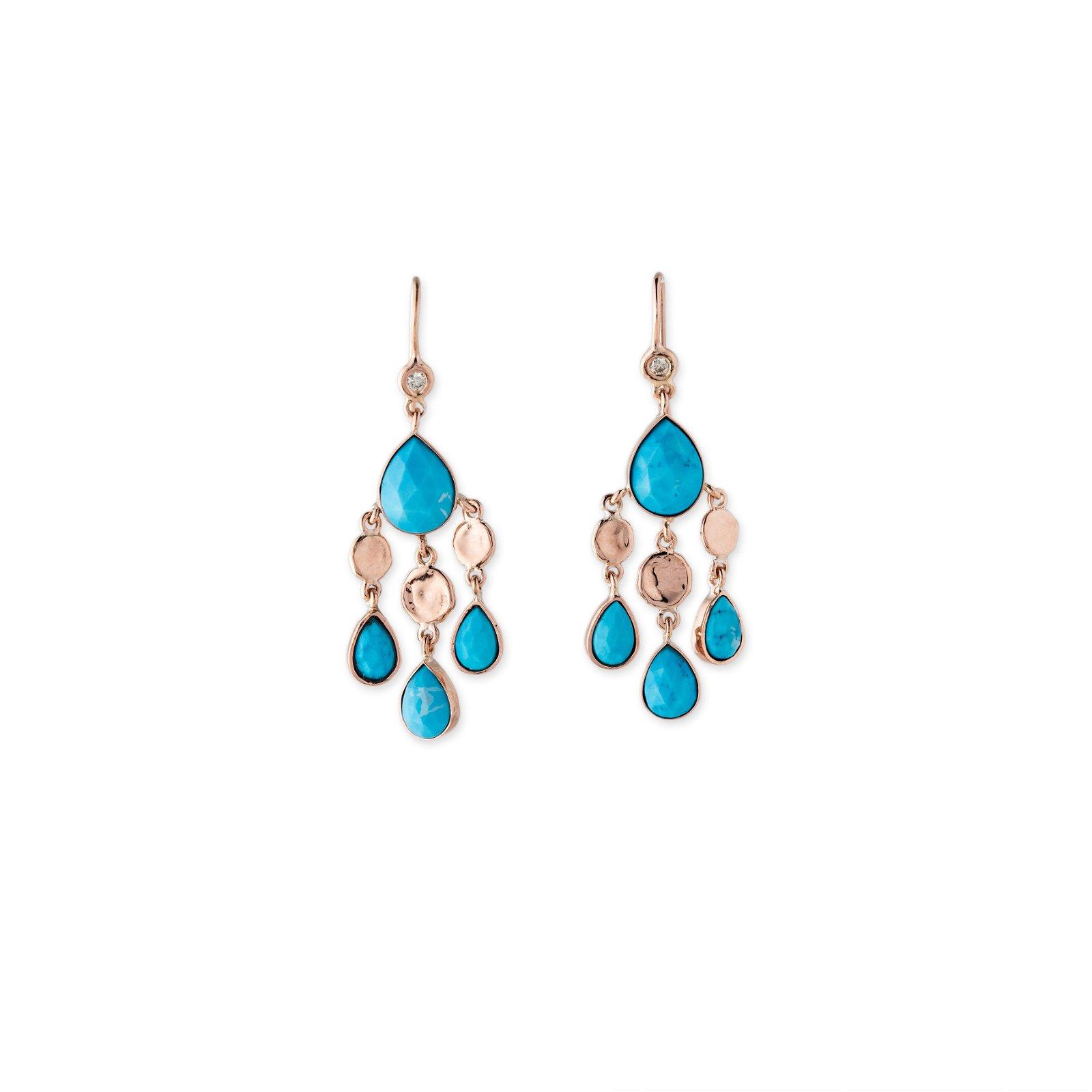 Image of Turquoise Teardrop Disc Drop Earrings
