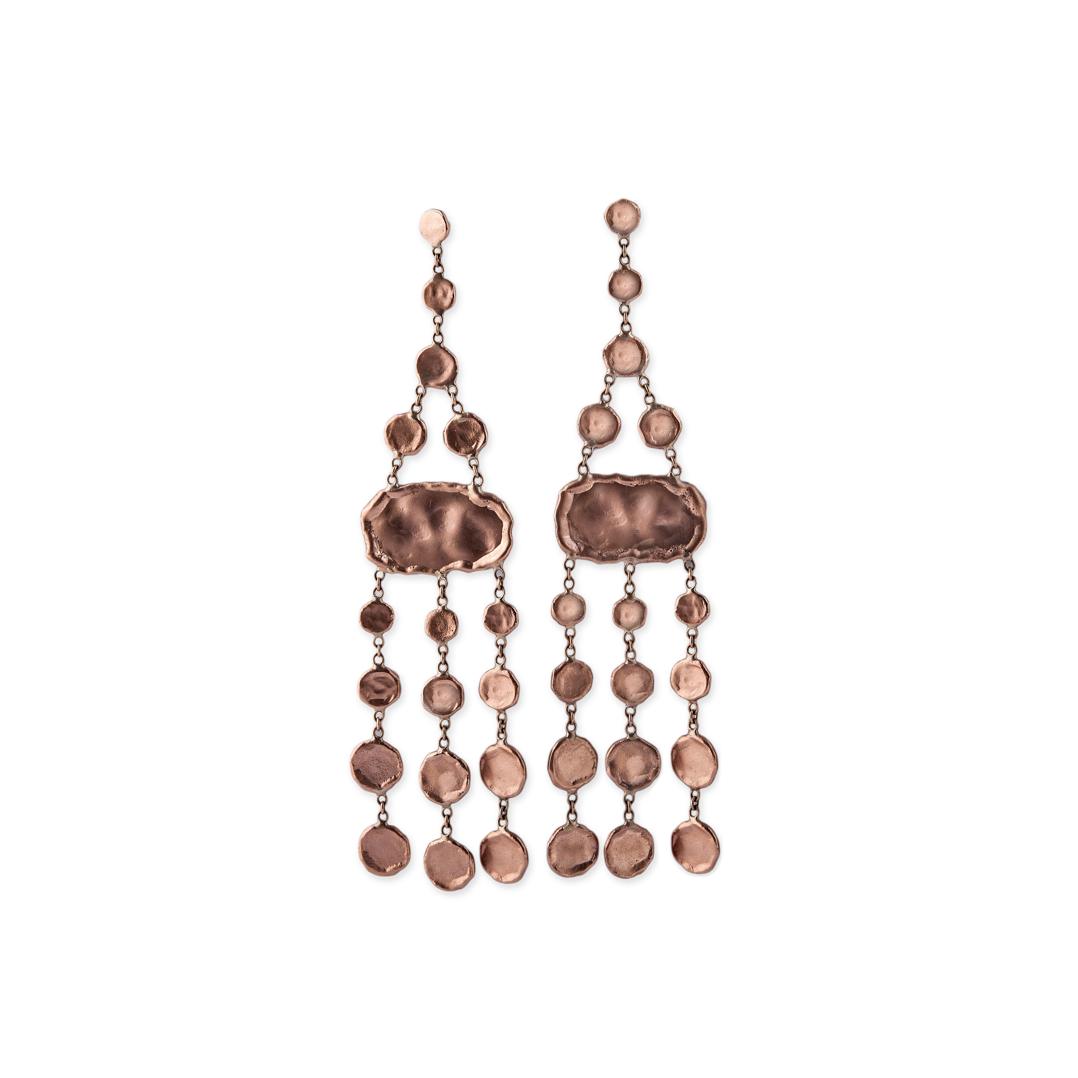 Image of Hammered Disc Chandelier Earrings