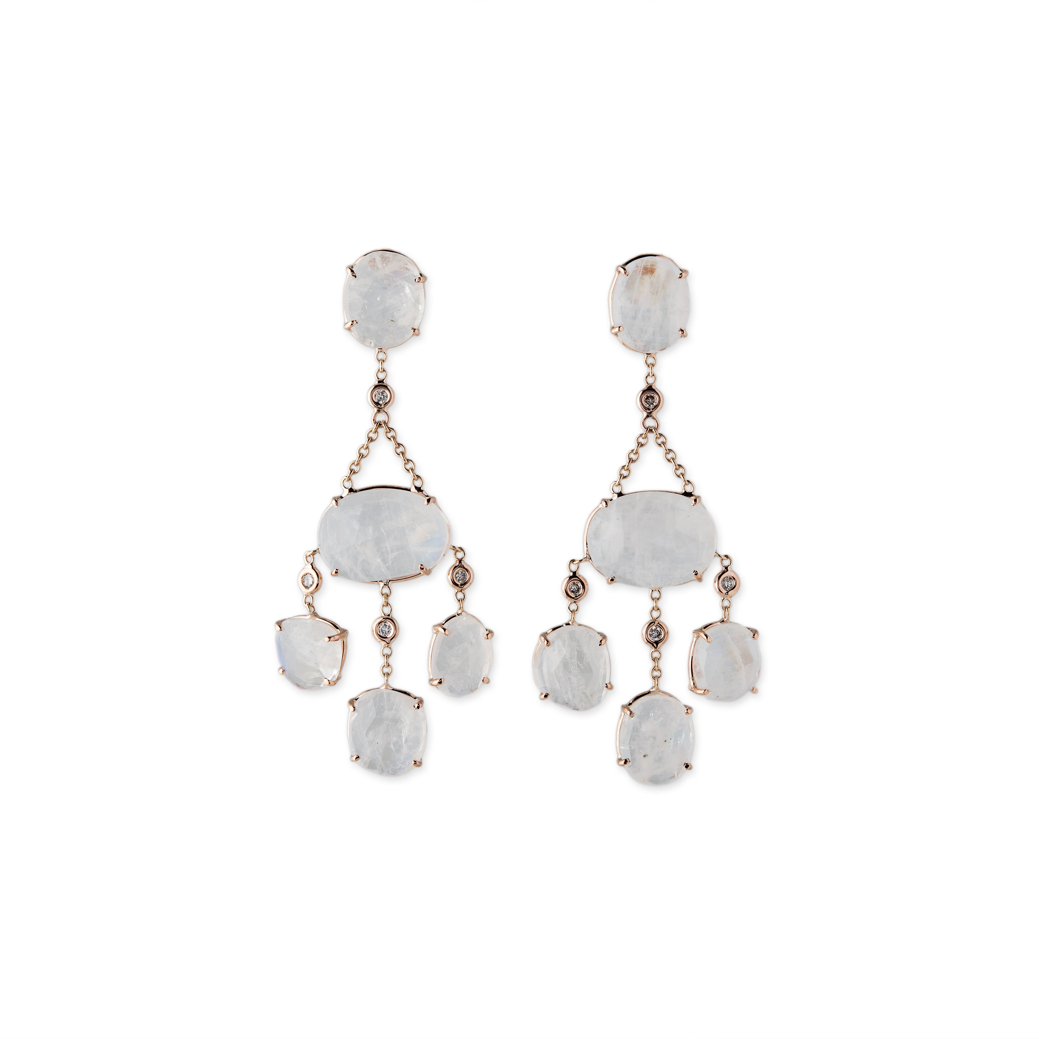 Image of Moonstone and Diamond Drop Earrings