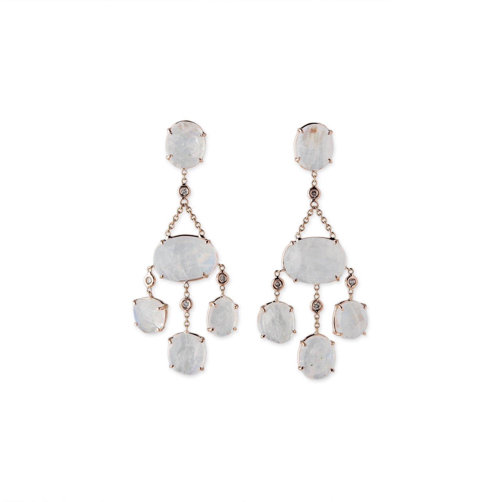 Image of Moonstone and Diamond Drop Earrings