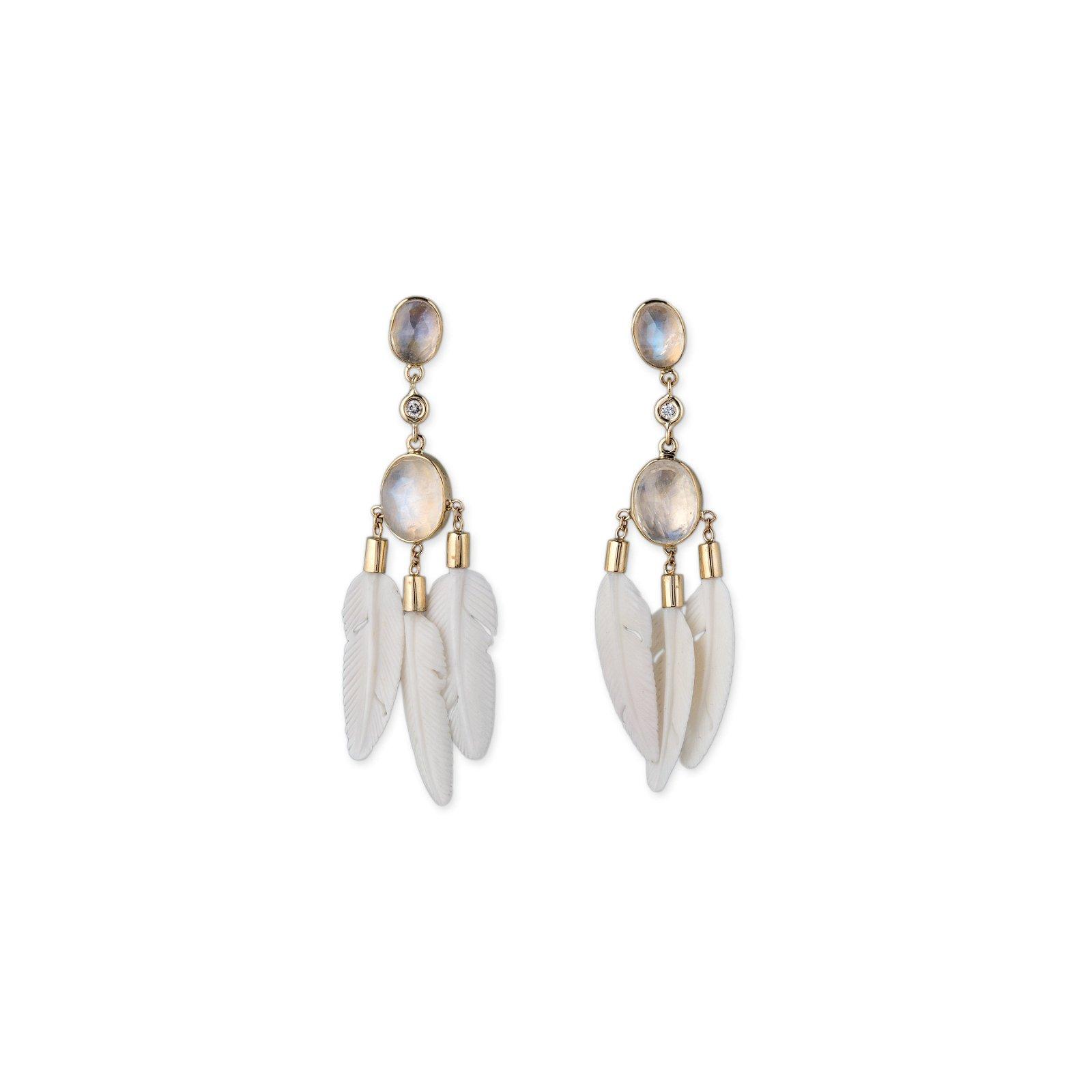Image of Moonstone Bone Feather Earrings
