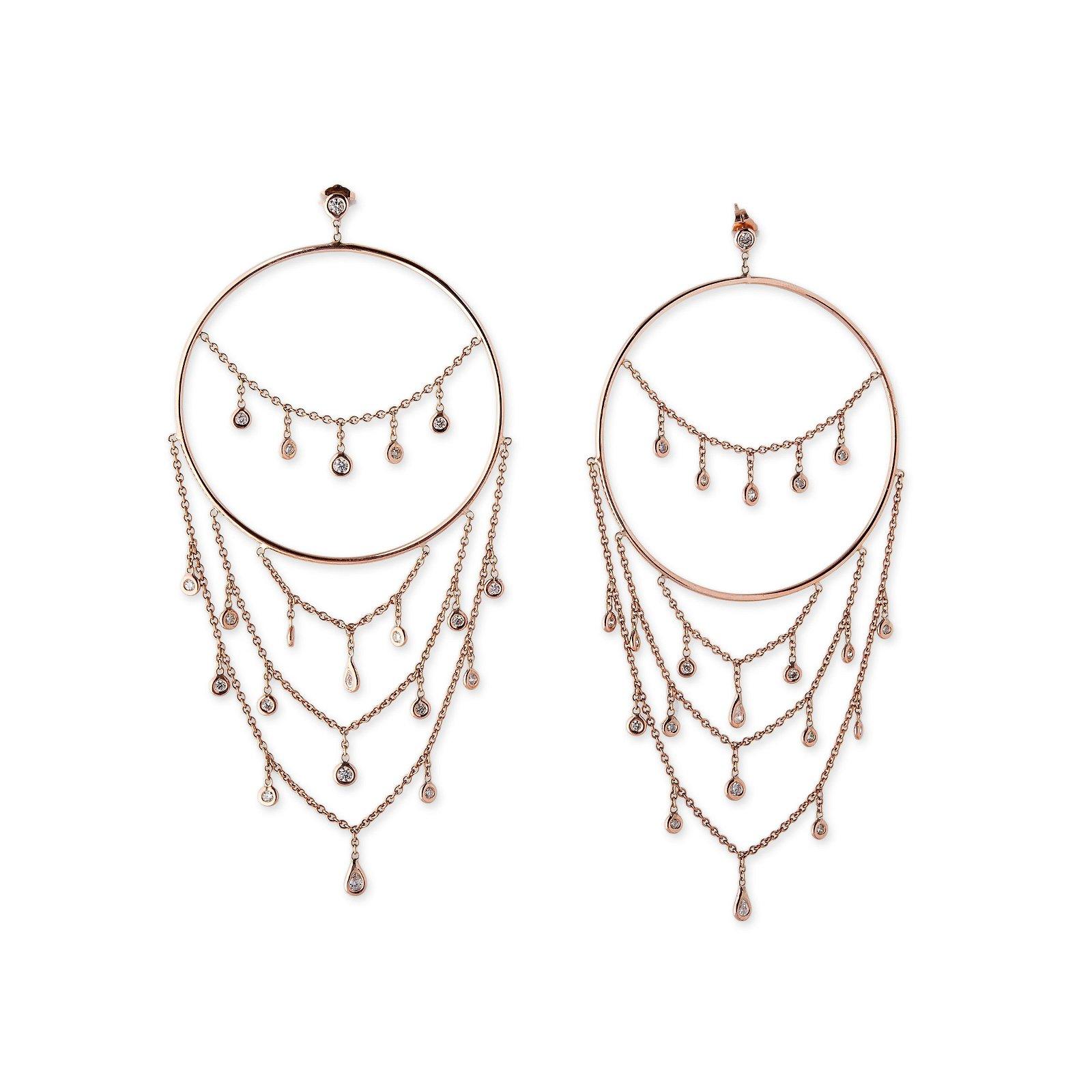 Image of Diamond Shower Chandelier Hoops