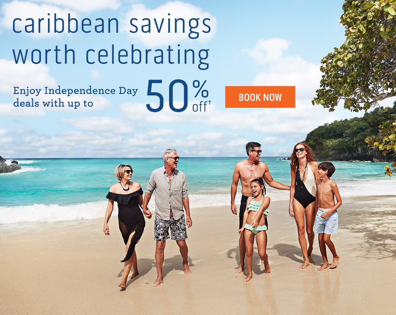 Image of two sets of couples and two kids walking on the beach | caribbean savings worth celebrating - Enjoy Independence Day deals with up to 50% off - Click here to book now