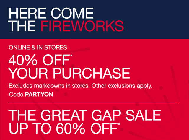 40% OFF* YOUR PURCHASE | THE GREAT GAP SALE UP TO 60% OFF*