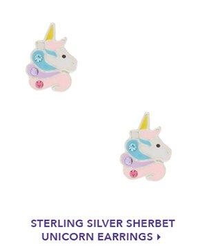 silver sherbert unicorn earrings