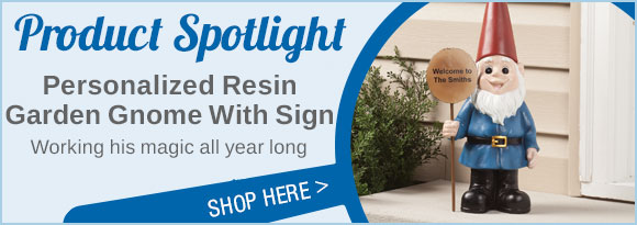 Product Spotlight: Personalized Resin Garden Gnome With Sign...Shop Here