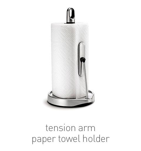 tension arm paper towel holder