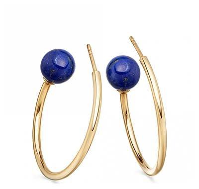 Lapis Ezra Hoop Earrings