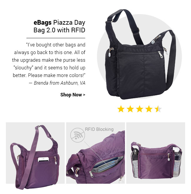 eBags Piazza Day Bag 2.0 with RFID