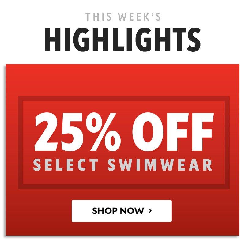 25% OFF select swimwear