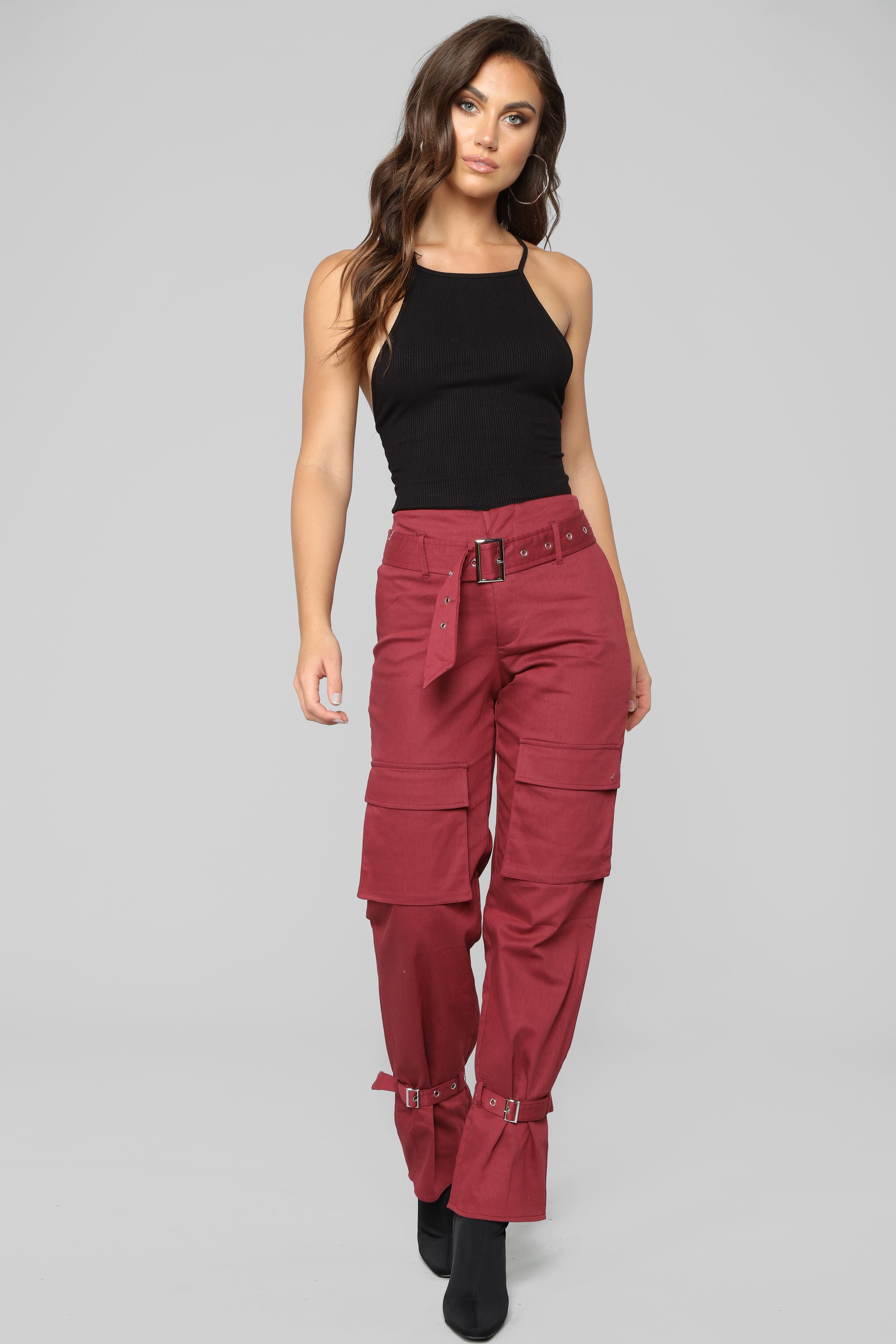 We Are So Over Cargo Pants - Burgundy