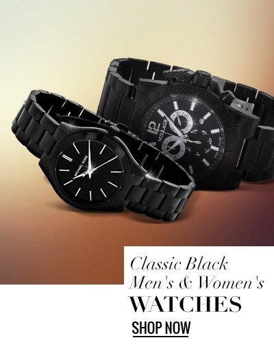 Classic Black Men's & Women's Watches