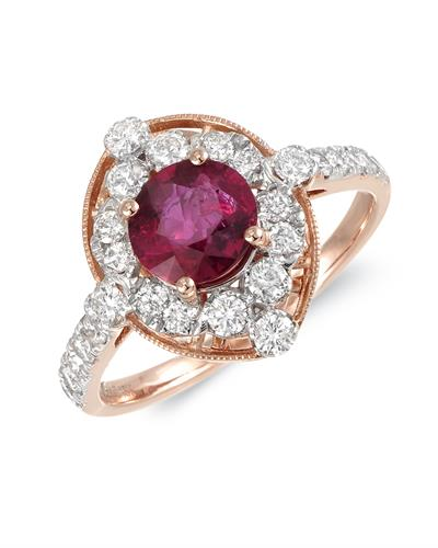 MICHAEL CHRISTOFF Ring With 1.64ctw Diamonds and Ruby 18K Rose Gold