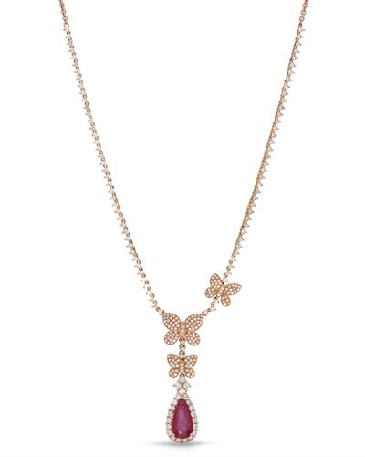 LUNDSTROM Necklace With 5.72ctw Diamonds and Ruby 14K Rose Gold