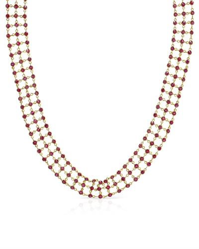 Choker With 11.00ctw Rubies 14K Yellow Gold
