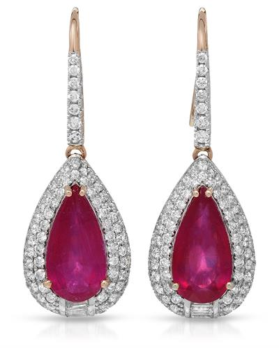 MICHAEL CHRISTOFF Earrings With 13.58ctw Diamonds and Rubies 14K Rose Gold