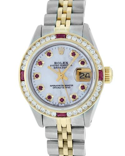ROLEX 18K Gold and Stainless Steel and White Mother of Pearl Watch With 1.15ctw Diamonds and Rubies