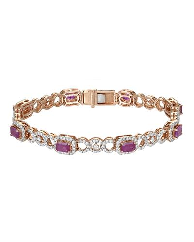 MICHAEL CHRISTOFF Bracelet With 6.74ctw Diamonds and Rubies 18K Rose Gold