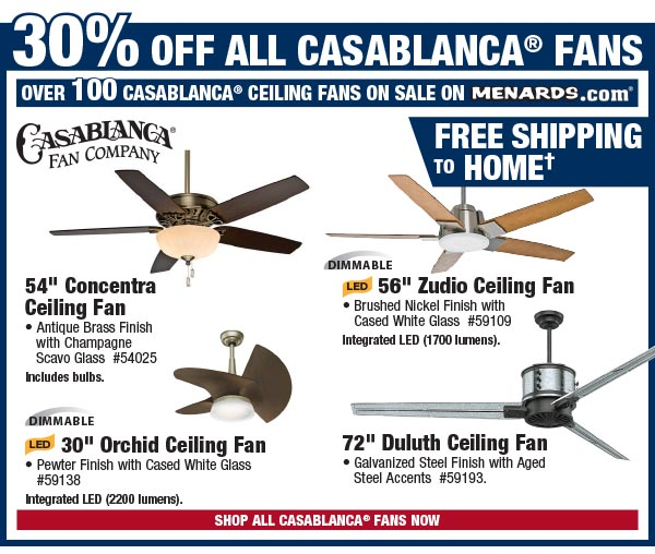 30% Off All Casablanca Ceiling Fans